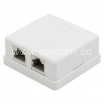 Computer wall outlet, surface mount 2 x RJ45 white packaged