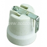 Lamp holder ceramic E27 with metal bracket