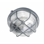 Round bulkhead fitting, plastic grill;gray E27 100W IP44