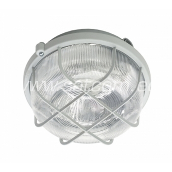 Ümmargune niiskuskindel valgusti plast-võrega valge E27 100W IP44