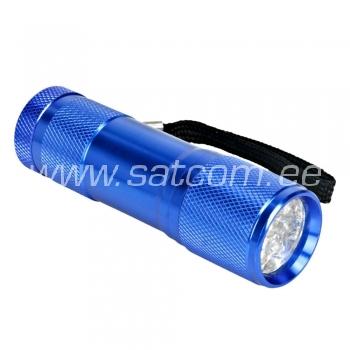Taskulamp 9 LED sinine- patareideta