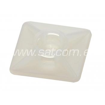 Kaablisideme alus kandiline kleebisega 19x19x4 mm,valge, 100 tk