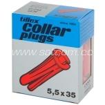 Collar plug red 5,5x35mm 100 pc in box Tillex