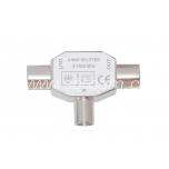 Splitter 2-way IEC male / 2 x female packaged