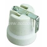 Lamp holder ceramic E27 with metal bracket