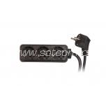 Extension cord 3 sockets 3m 3G1,0mm² 10A black