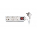 Extension cord with switch 3 sockets 3m 3G1,0mm² 10A white