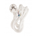 Power cord white, earthed, 2m, 3G1,5mm², 16A, packaged