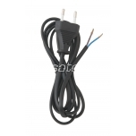 Power cord black, 2m, 2x0,75mm², 2,5A, packaged