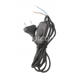 Power cord with switch black, 5m, 2x0,75mm², 2,5A, packaged