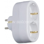 Adapter double Schuko, white, packaged