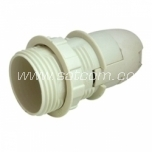 Lamp holder plastic E14 with thread and ring white packaged