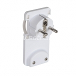 Slim corner plug with earthing 220V white packaged