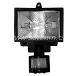 Halogen flood-light with movement sensor, black  150W IP44(includes lightsource)