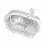 Oval bulkhead fitting, plastic grill, white E27 60W IP44