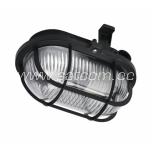 Oval bulkhead fitting, plastic grill, black E27 60W IP44