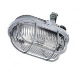 Oval bulkhead fitting, plastic grill, gray E27 60W IP44