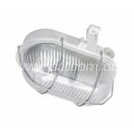 Oval bulkhead fitting, metal grill, white E27 60W IP44