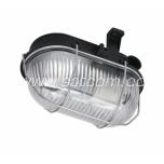 Oval bulkhead fitting, metal grill, black E27 60W IP44