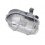 Oval bulkhead fitting, metal grill, gray E27 60W IP44