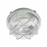 Round bulkhead fitting, plastic grill, white E27 100W IP44
