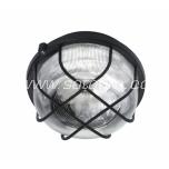 Round bulkhead fitting, plastic grill, black E27 100W IP44