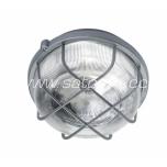 Round bulkhead fitting, plastic grill;gray E27 100W IP44