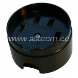 Wall socket 25A 380V round, black (Soviet type)